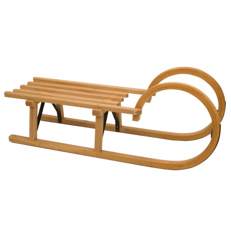 luge en bois avec poign es rodel glisseurs en acier. Black Bedroom Furniture Sets. Home Design Ideas