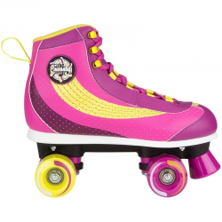 ROLLERS QUAD RETRO ROSE-JAUNE - 34 AU 41